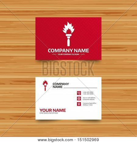Business card template. Torch flame sign icon. Fire flaming symbol. Phone, globe and pointer icons. Visiting card design. Vector