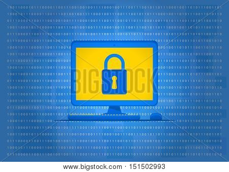 Computer data protection vector illustration. Computer with lock sign on the blue background. Data security technology graphic design. Firewall software to protect your privacy creative concept.