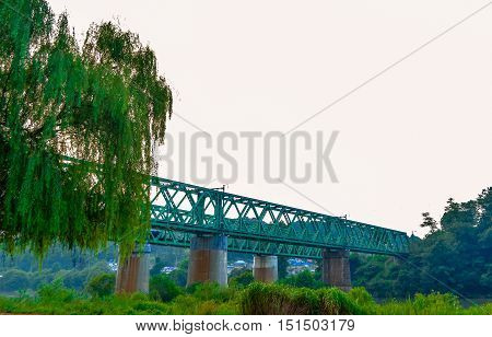 Railroad bridge extending into the background across a river with a willow tree in the foreground and grass,tree and other foliage