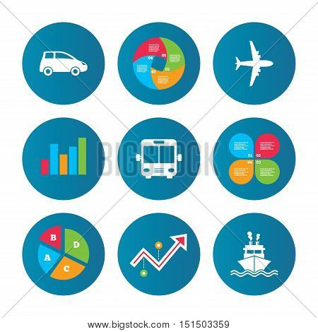 Business pie chart. Growth curve. Presentation buttons. Transport icons. Car, Airplane, Public bus and Ship signs. Shipping delivery symbol. Air mail delivery sign. Data analysis. Vector