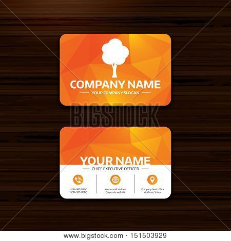 Business or visiting card template. Tree sign icon. Forest symbol. Phone, globe and pointer icons. Vector