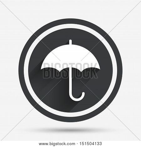 Umbrella sign icon. Rain protection symbol. Circle flat button with shadow and border. Vector