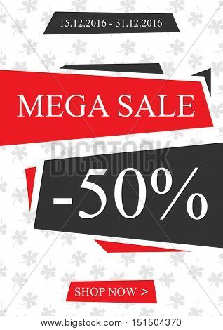 Vector promotional Mega Sale banner for online stores websites retail posters social media ads. Creative banner layout for m-commerce mobile applications e-mail promotions.