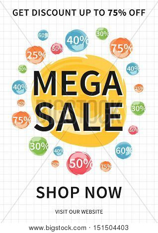 Vector Mega Sale banner with discount signs for online stores websites retail posters social media ads. Creative banner layout for m-commerce mobile applications e-mail promotions.
