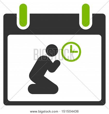 Pray Time Calendar Day vector icon. Style is flat graphic bicolor symbol, eco green and gray colors, white background.