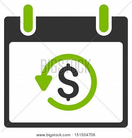 Refund Calendar Day vector pictogram. Style is flat graphic bicolor symbol, eco green and gray colors, white background.