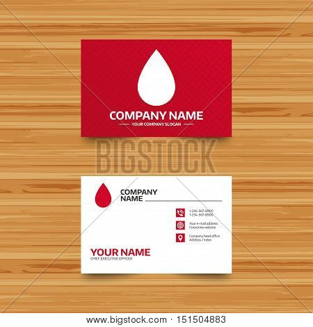 Business card template. Water drop sign icon. Tear symbol. Phone, globe and pointer icons. Visiting card design. Vector