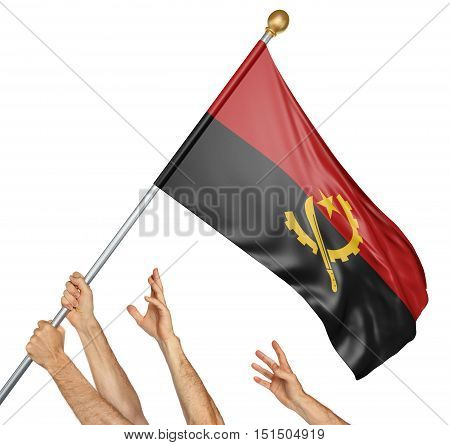 Team of peoples hands raising the Angola national flag, 3D rendering isolated on white background