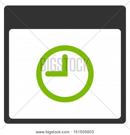 Time Calendar Page vector pictogram. Style is flat graphic bicolor symbol, eco green and gray colors, white background.