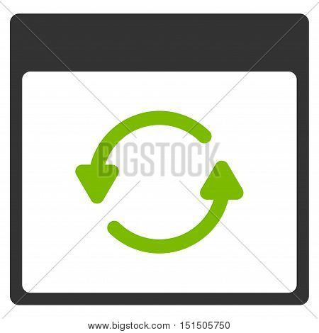 Update Calendar Page vector pictogram. Style is flat graphic bicolor symbol, eco green and gray colors, white background.