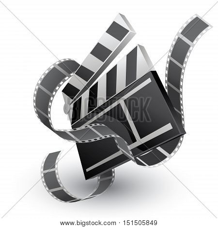 movie clapper with film strip on white background