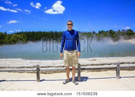 Young Happy Man In Blue Shirt.  Wai-o-tapu Thermal Area, Nz