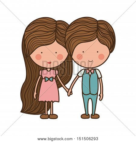 couple holding hands with clothes vector illustration