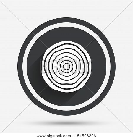 Wood sign icon. Tree growth rings. Tree trunk cross-section. Circle flat button with shadow and border. Vector