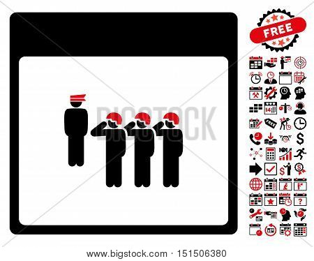 Army Squad Calendar Page icon with bonus calendar and time management pictures. Vector illustration style is flat iconic symbols, intensive red and black, white background.