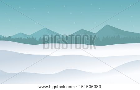 Silhouette of hill winter scenery vector illustration