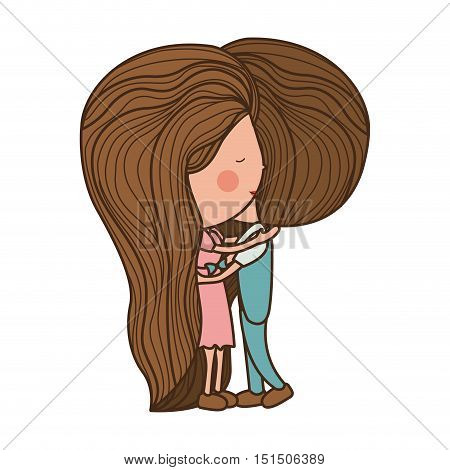 couple embracing in love with clothes vector illustration