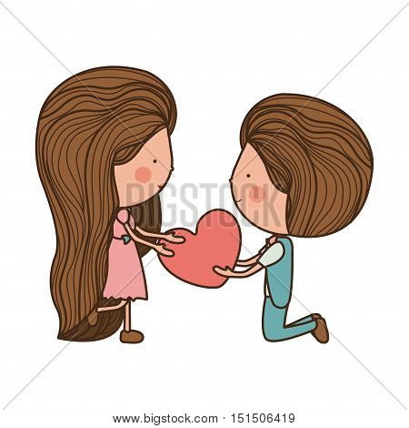 couple with heart in her hands vector illustration