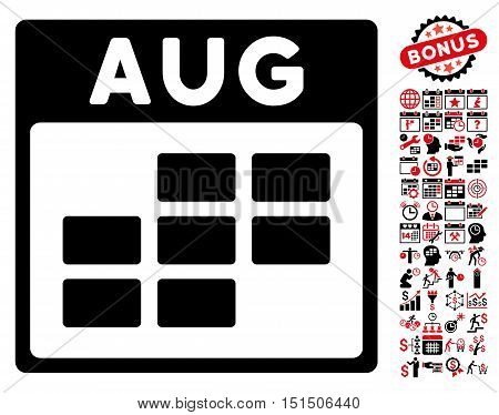 August Calendar Grid icon with bonus calendar and time management symbols. Vector illustration style is flat iconic symbols, intensive red and black, white background.