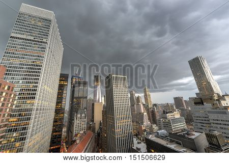 Aerial View Of Downtown Manhattan