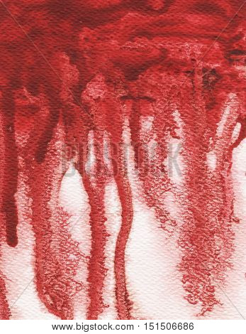 Red splash, watercolor abstract hand painted illustration. Halloween bloody background.