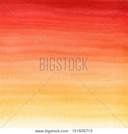 Abstract watercolor hand painted background. Autumn gradient from red to yellow color.