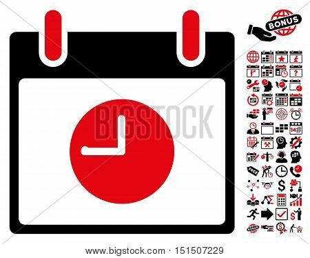 Clock Calendar Day pictograph with bonus calendar and time management symbols. Vector illustration style is flat iconic symbols, intensive red and black, white background.