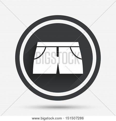 Women's sport shorts sign icon. Clothing symbol. Circle flat button with shadow and border. Vector