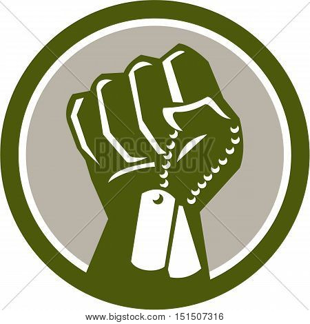 Illustration of a clenched fist clutching holding dogtag viewed from front set inside circle done in retro style.