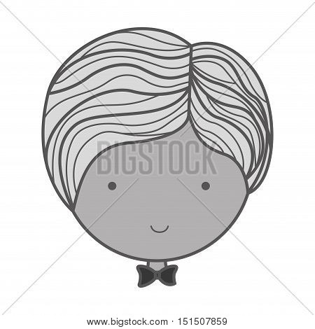 monochrome silhouette face groom with bowtie vector illustration