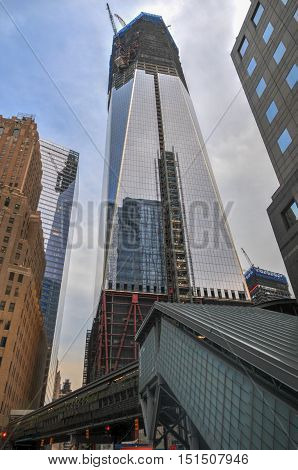 New York City - November 20, 2011: World Trade Center complex under construction in lower Manhattan.