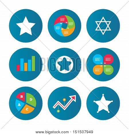 Business pie chart. Growth curve. Presentation buttons. Star of David icons. Sheriff police sign. Symbol of Israel. Data analysis. Vector