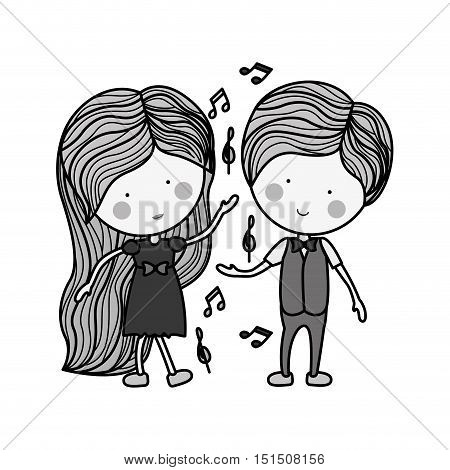 silhouette couple dancing with musical notes vector illustration