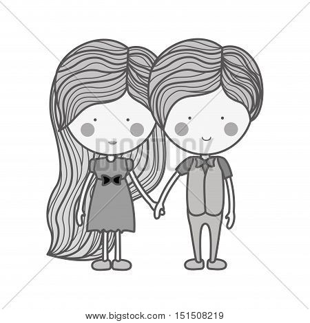 silhouette couple holding hands with clothes vector illustration