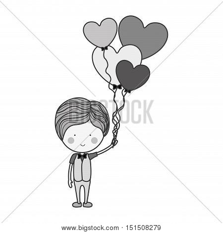 silhouette man with heart shaped balloons vector illustration