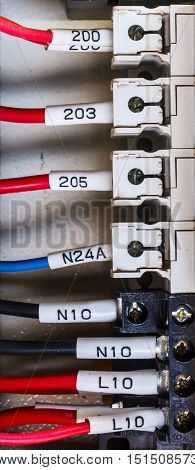Wiring -- Control panel, with wires in industrial factory