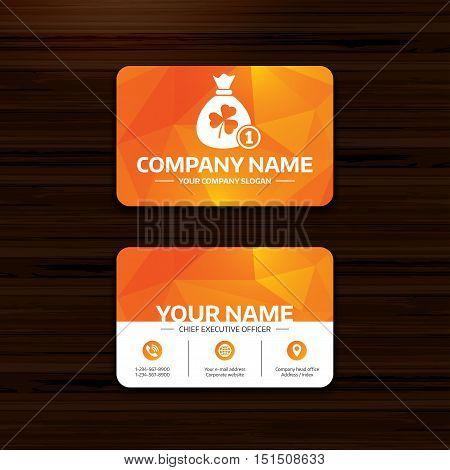 Business or visiting card template. Money bag with three leaves clover and coin sign icon. Saint Patrick trefoil shamrock symbol. Phone, globe and pointer icons. Vector