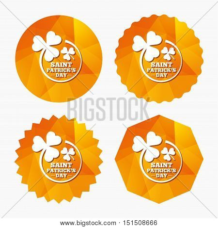 Clovers in circle with three leaves sign icon. Saint Patrick trefoil shamrock symbol. Triangular low poly buttons with flat icon. Vector