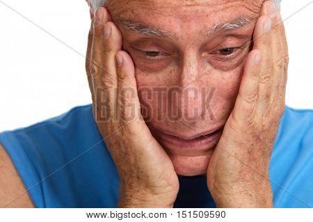 Senior man headache.