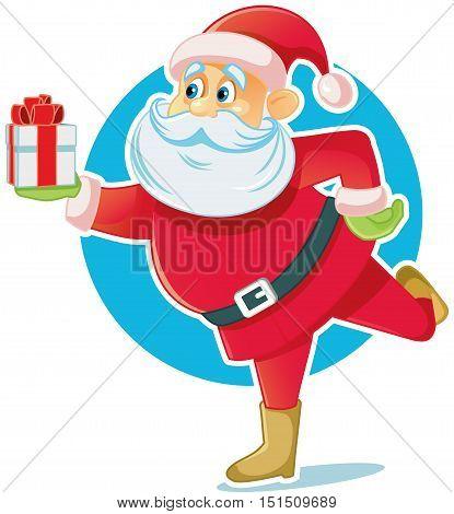 Santa Claus Holding Gift Box Vector Illustration