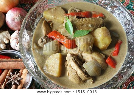 Spicy chickenkorma or Ayam kurma, most popular dish in south east asia