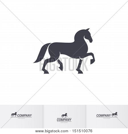 Stylized Dark Horse for Mascot Logo Template on White