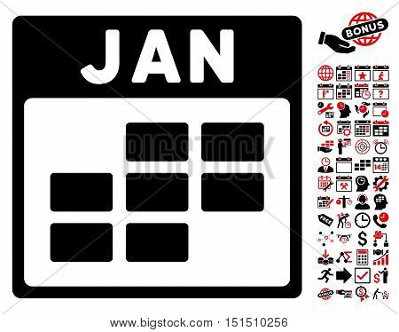 January Calendar Grid pictograph with bonus calendar and time management design elements. Vector illustration style is flat iconic symbols, intensive red and black, white background.