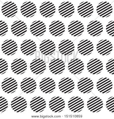 Seamless retro geometric pattern with polka dots