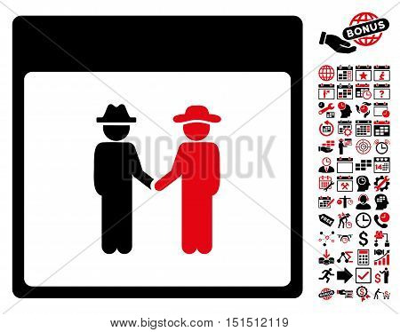 Men Handshake Calendar Page icon with bonus calendar and time management pictograms. Vector illustration style is flat iconic symbols, intensive red and black, white background.