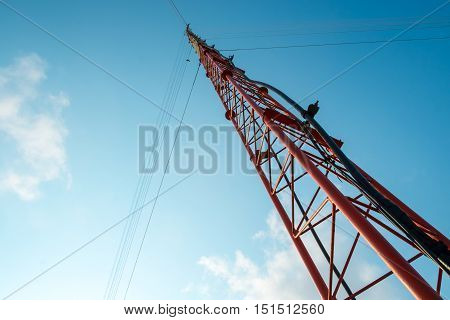 Radio or communication antenna tower Ant eyes view.