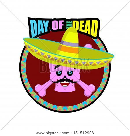 Day Of The Dead Skeletons And Sombrero. Multi-colored Skull In Mexican Hat. Emblem For National Holi