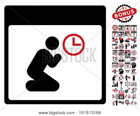 Pray Clock Calendar Page icon with bonus calendar and time management pictograph collection. Vector illustration style is flat iconic symbols, intensive red and black, white background.