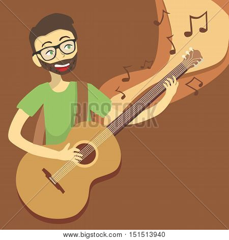 Man playing acoustic guitar on brown background vector illustration