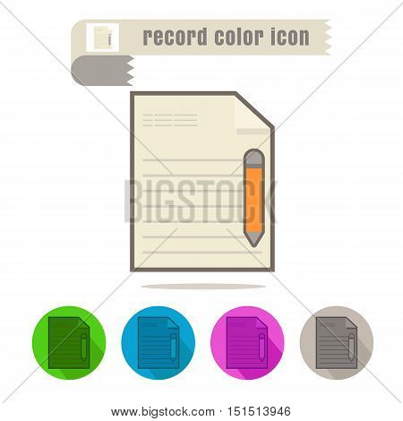 icon Record color design on white background